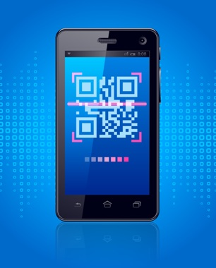 smart phone image with a qr code scanning on the screen